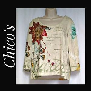 Chico's Graphic Knit Top Beaded Accents Size 2
